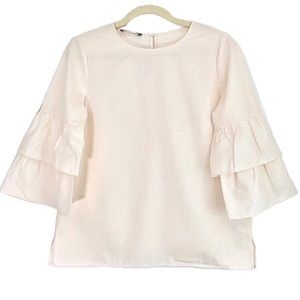 New Lafayette 148 Tiered Ruffle Bell Sleeve Blouse